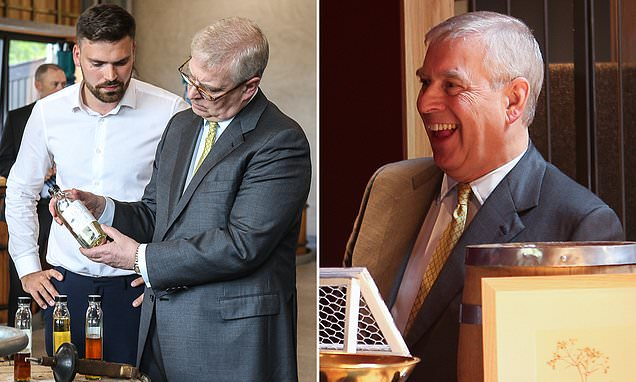 Prince Andrew is all smiles during trip to a distillery in Scotland