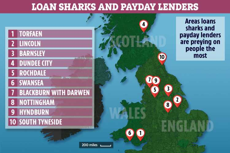 The areas where loan sharks and payday lenders are preying on people – how to get affordable credit