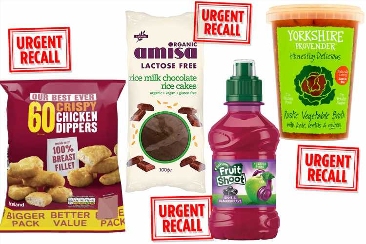 Asda, Iceland, and Tesco issue recalls for Fruit Shoot, chicken dippers, cheese burgers and more