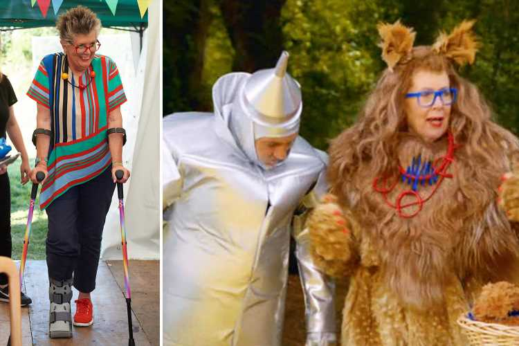 Bake Off's Prue Leith on crutches after freak accident during Wizard of Oz skit