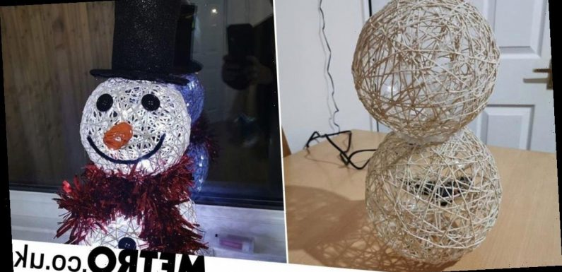 Mum makes amazing snowman Christmas decoration using string and balloons for £11