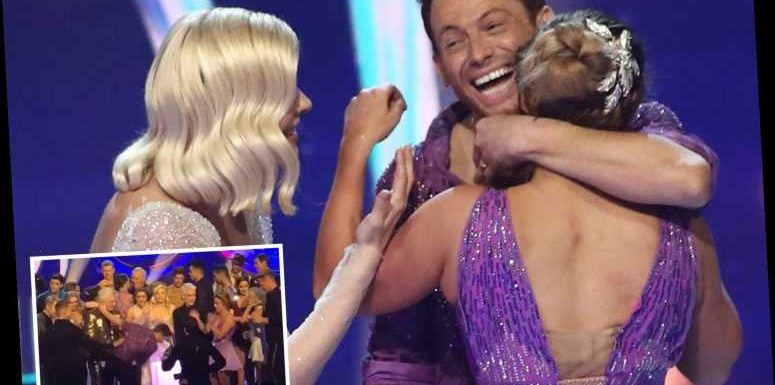 Joe Swash almost takes a tumble on the ice as he celebrates win with Dancing on Ice co-stars – The Sun