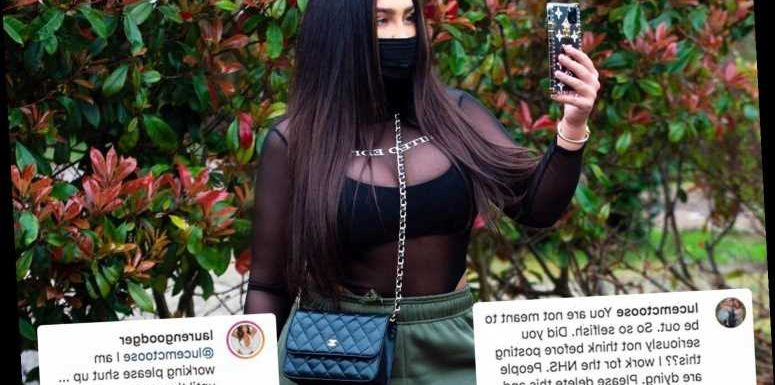 Lauren Goodger under fire after telling NHS worker to 'shut up' as she's slammed for going to work – The Sun