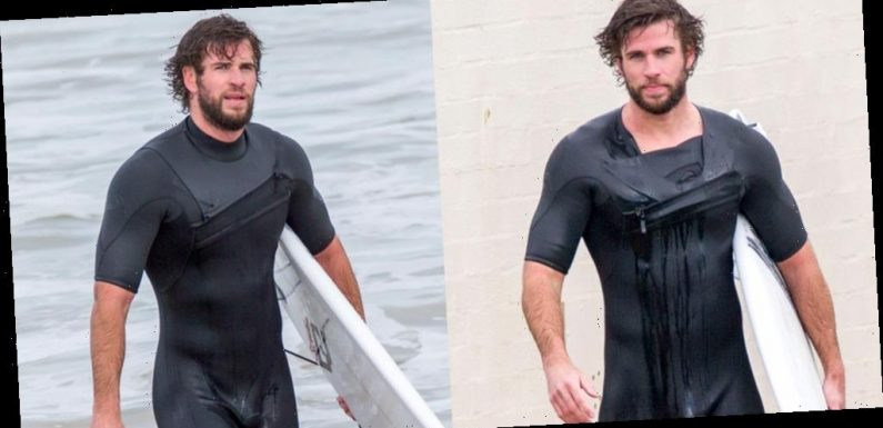 Liam Hemsworth Gets In a Surf Session In His Skintight Wetsuit