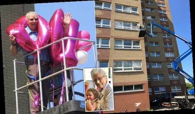 Family hires a cherry picker to celebrate relative's 100th birthday