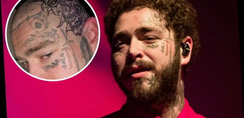 Post Malone shows off huge new flaming skeleton tattoo on his skull