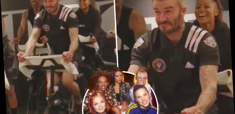 Victoria Beckham jokes David Beckham 'always wanted to join the Spice Girls' as he works out to Wannabe