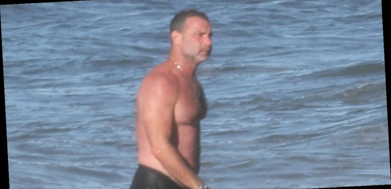 Liev Schreiber Goes Shirtless at the Beach in The Hamptons