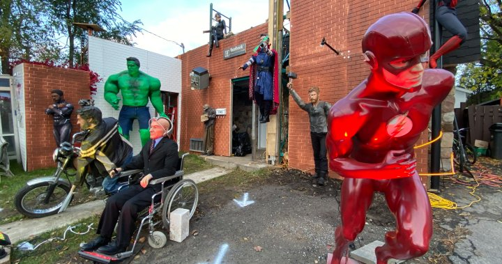 The Avengers assemble alongside other famous superheroes at Montreal Halloween house