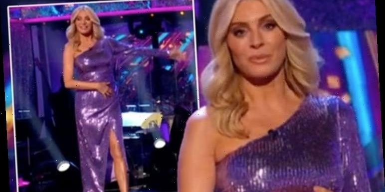 Tess Daly's dressdistracts Strictly viewers as they accuse host of 'blending into set'