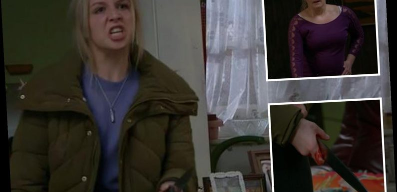 Furious Emmerdale fans complain to Ofcom over bloody scenes as Belle threatens to stab Tracy