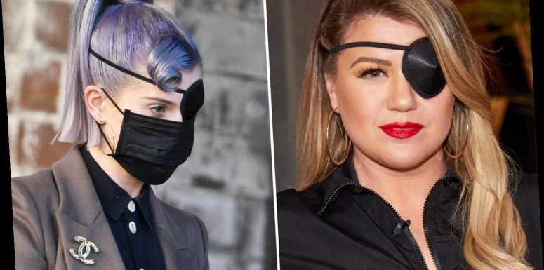 Kelly Osbourne wears eyepatch after she scratched her 'eyeball on mascara wipe' as Kelly Clarkson dons similar accessory