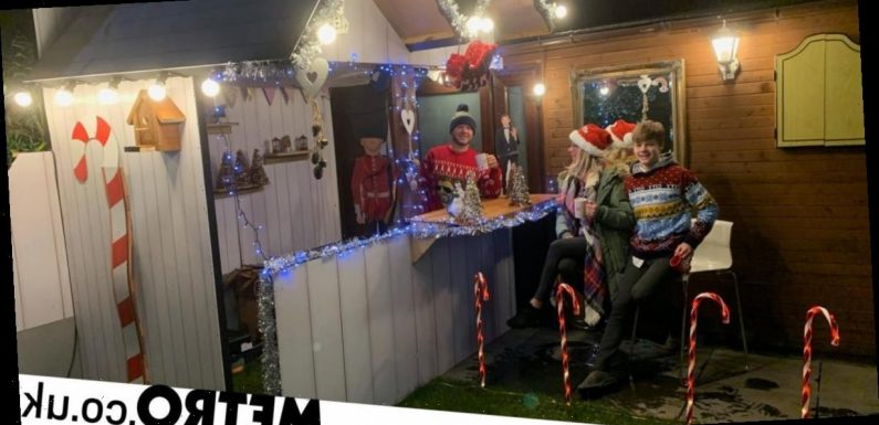 Dad makes Christmas market in the garden for his family in just three hours