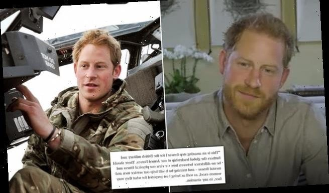 Prince Harry shares delight mental health in military training