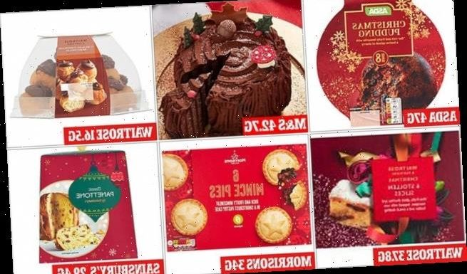 Which supermarket's Christmas desserts contain the most sugar?