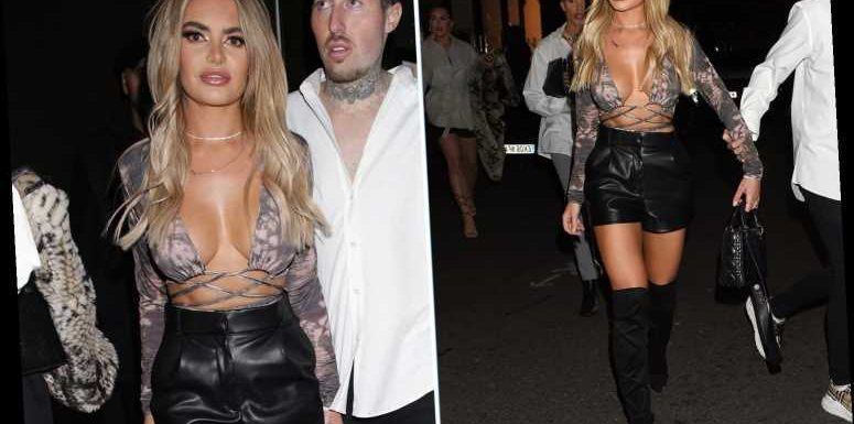 Megan Barton Hanson looks incredible in leather shorts and a very low cut top on final night out in London