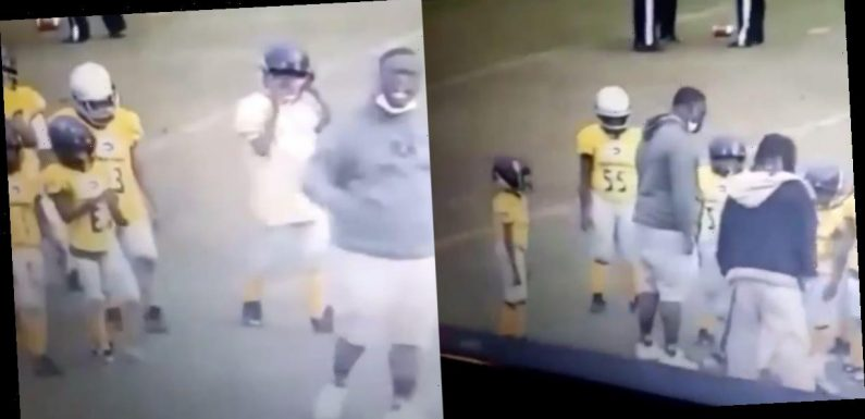 A viral video shows a youth football coach punching a child in the helmet multiple times during a game