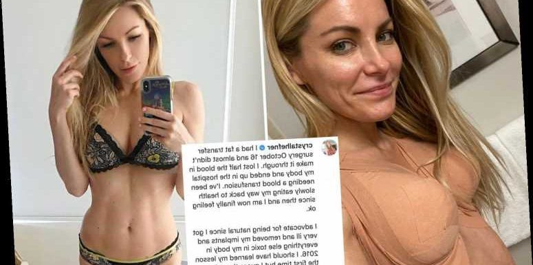 Crystal Hefner reveals she lost half the blood in her body and almost DIED from plastic surgery in October