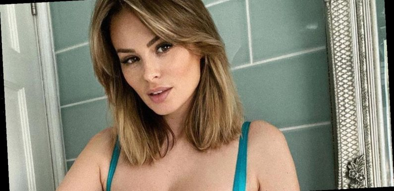Page 3 icon Rhian Sugden shows off bombshell curves in transparent lingerie