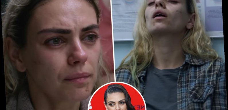 Mila Kunis unrecognisable as bleach blonde drug addict in harrowing trailer for new movie Four Good Days