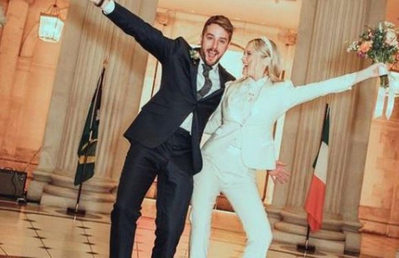 Laura Whitmore gives detailed look at incredible bridal suit in unseen snaps from wedding to Iain Stirling