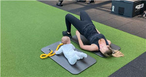 Kate Ferdinand shows off post-baby body with 'new gym buddy' son Cree