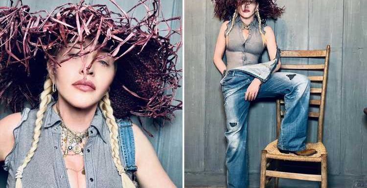 Madonna, 62, wows in a purple straw hat, dungarees and pigtails