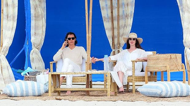 Anne Hathaway & Jared Leto Hold Hands Filming Beach Scene For New Show WeCrashed