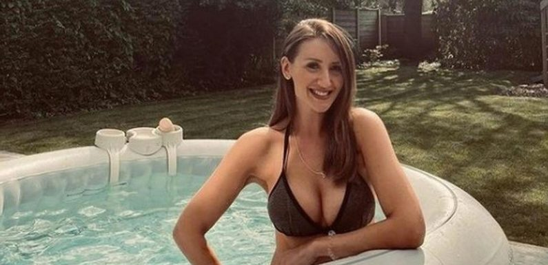 Corries Catherine Tyldesley wows in black bikini as she relaxes in new hot tub