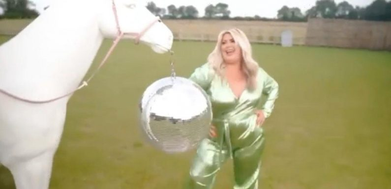 Gemma Collins flashes cleavage as she shows off weight loss in plunging jumpsuit