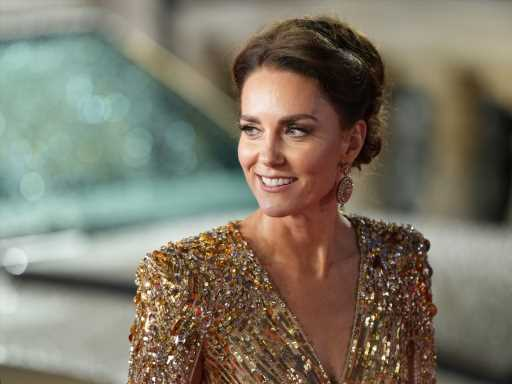 Kate Middleton's Gorgeous Gold 'No Time to Die' Dress Was Styled After One of Diana's Own James Bond Looks