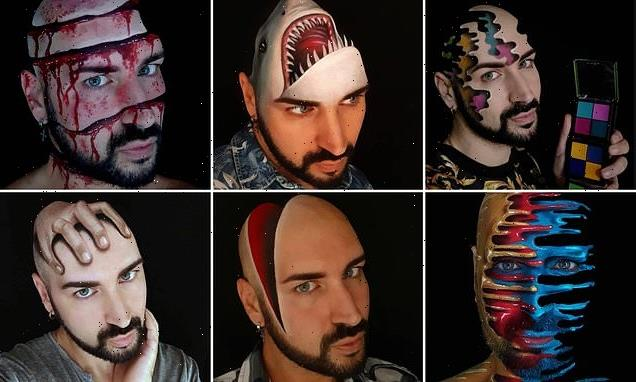 Make-up artist shares incredible photos of himself in 3D illusions